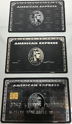 American Express Black Card Amex Centurion Metal Credit Card Novelty 3-Pack