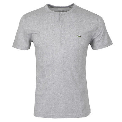 Lacoste Authentic Men's SS Pima Cotton Henley T-Shirt, Silver Chine, 4/Small,NWT