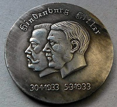 Ww2 1938 Adolf Hitler & Hindenburg German Reichsmark Silvered Coin
