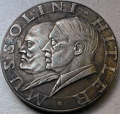 Adolf Hitler & Benito Mussolini Meeting German Coin Third Reich Ww2