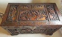 Hong Kong / Chinese Oriental carved camphor chest