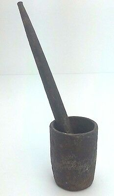 """Antique Mini Cast Iron MORTAR and PESTLE Apothecary Pharmacist 7"""" Rare Find"""