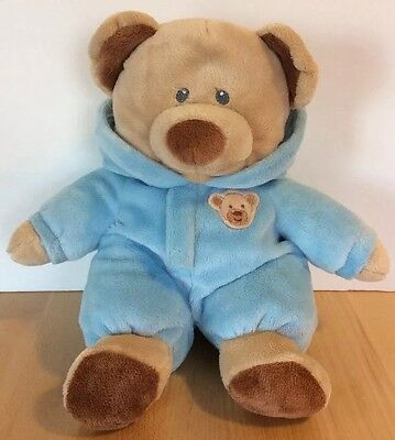 """TY Pluffies BABY BEAR BLUE with Hooded PJ's 11"""" Stuffed Animal Beanie 2012"""