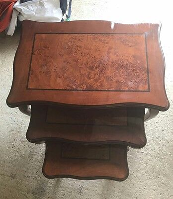 POLISHED HARDWOOD NEST OF 3 TABLES living room coffee side table brown