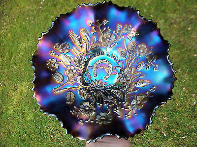 Northwood Good Luck Carnival Glass Bowl ~ Purple ~ Stunning ~