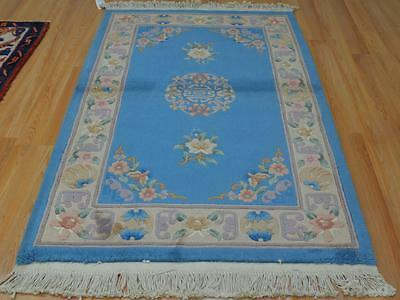 5'5x3'6 European Aubusson Design Vintage Chinese Oriental Hand Knotted Wool Rug