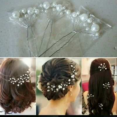 White pearl  Hair pins  Prom Wedding Bridal Bridesmaids (1pins)