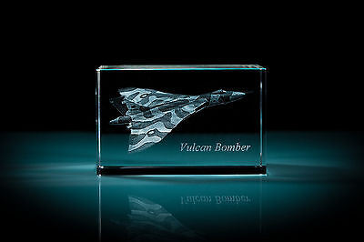 Vulcan Bomber Laser Etched 2D/3D Glass Crystal