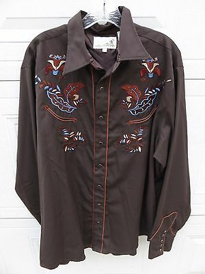 VTG Embroidered Roper Western Style Pearl Snap Men's Long Sleeve Shirt SZ-XL