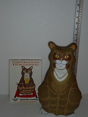 "Vintage1986 Aerial Greetings 14"" Inflatable Greeting  Cat w/Message Card"