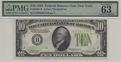 1934 $10 Federal Reserve Note, Fr2005-B New York Pmg Choice Uncirculated 63 Epq