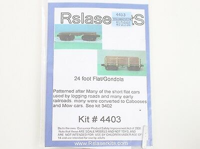 RSLaser Kits Z Scale 24' Flat Gondola Car Wood Laser Kit #4403 Unbuilt