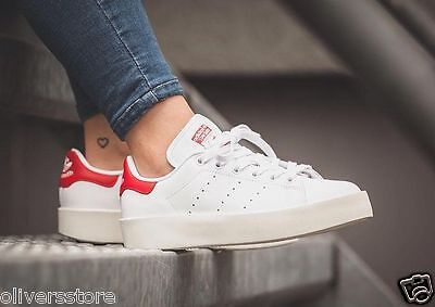 adidas Originals Womens Stan Smith Bold Trainers White/Collegiate Red