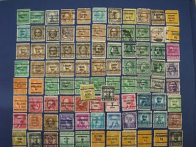 90 USA Precancel Postage Stamps.  Different, Used,  Off Paper - Nce!