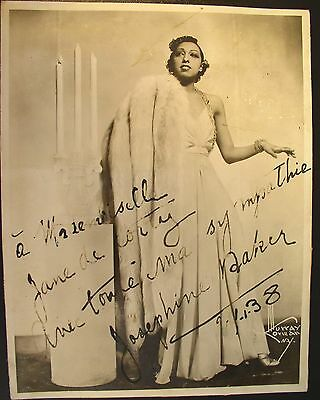 Nice Early Josephine Baker Signed & Inscribed Photograph ~ 1938 by Murray Korman