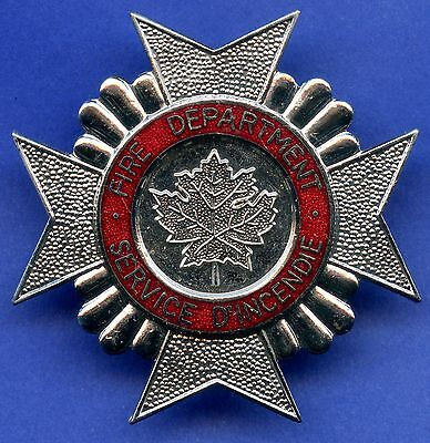 """Large Canada Fire Fighters """"Service D'Incendie"""" Screw Back Hat Badge 55mm x 55mm"""