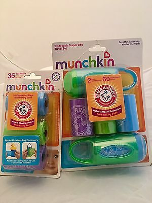 Munchkin Arm Hammer 96 Count Diaper Bag Disposable Pack Travel Set & Baby Refill