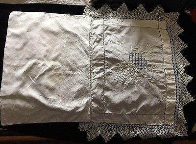 Antique Vintage Crocheted Embroidered Lace Small Pillow Sham Bridal Lingerie Bag