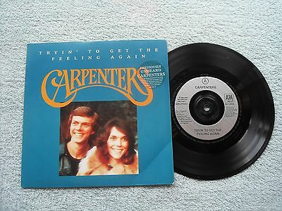 """CARPENTERS TRYIN' TO GET THE FEELING AGAIN A&M RECORDS UK 7"""" VINYL SINGLE in P/S"""