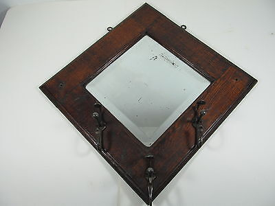 Vintage Oak hall mirror with coat hooks