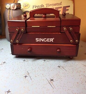 Vintage salesman sample Singer Accordion Wood Sewing Kit Basket Notions Box