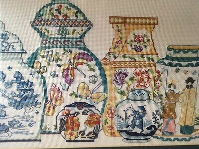 Needlepoint Cross Stitch Framed Picture Chines Urns And Vases