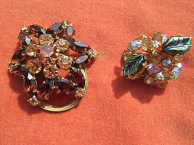 2 Vintage Scarf Clips, Both Set With Crystals