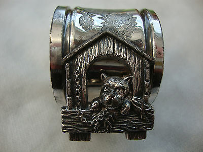 Old Victorian antique silver plated napkin ring boxer bull dog Meriden B company