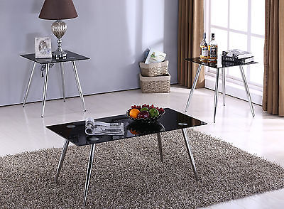 3 Pc. Chrome with Black Glass Coffee Table & 2 End Tables Occasional Set ~New~