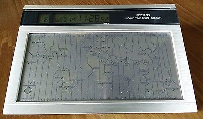 Seiko World Time Touch Sensor Desk Clock (QNS901G). WORKS PERFECTLY!
