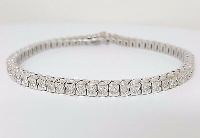 3.1 ct 14K White Gold Round Brilliant Cut Diamond Tennis Bracelet 17.7 Grams 7""