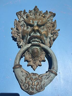 VTG. Large Gothic Heavy Solid Brass Devil Head Door Knocker Fabulous Patina L@@k