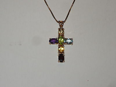 Vintage Natural Gemstone Cross.925 Italy Silver / Gold Plated  W/ 18'' Box Chain