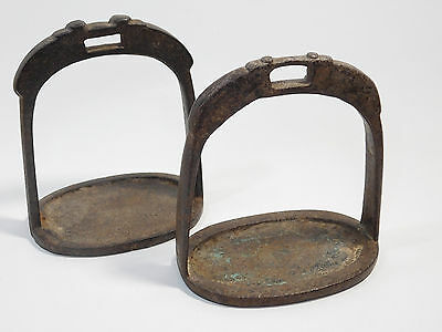 Original Used Antique Pair Of Hand Forged Iron Stirraps, Early 19Th Century