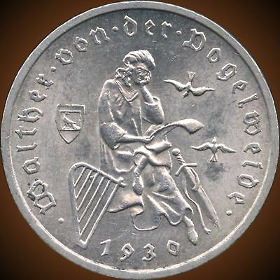 """1930 """"A"""" Germany 3 Mark Silver Coin (15 Grams .500 Silver)"""