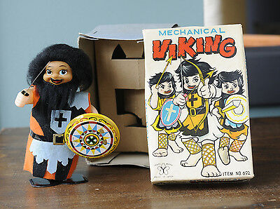 Vintage Wind Up Viking Tin Toy & Box Made in Japan