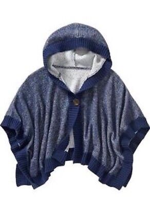 NWT Old Navy Toddler Girls 2T Hooded Kimono Navy Blue Knit Cardigan Poncho NEW