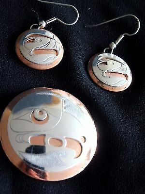 Pendant + earrings, sterling silver/copper First Nations Northwest Coast, Eagle