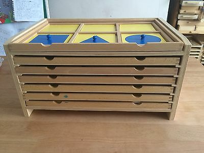 Montessori Geometric Cabinet and Cards With Holder. Classroom Materials.