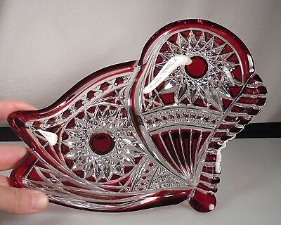 Baccarat Ruby Cut to Clear Glass Tray Dish - Ltd Ed