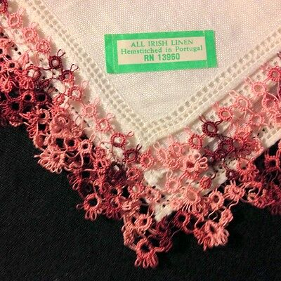 "Tatting Trim Fine Irish Linen  Hand Made in Portugal Handkerchief, 12""SQ"