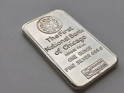 1St National Bank Of Chicago 1Oz .999 Silver Bar