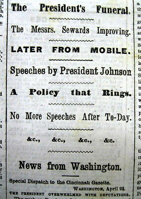 1865 Civil War newspaper ABRAHAM LINCOLN ASSASSINATION Funeral in HARRISBURG PA