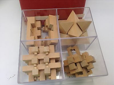 Woodfield Collection 4 Wooden Brain Teaser/Game/ Puzzles In Box