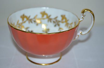 Aynsley Burnt Orange Footed Teacup Only Gold Flowers Trim Scalloped Bone China