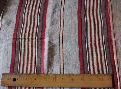 Lovely Old 19thC French Farmhouse Ticking Stripe Fabric~Reds & Yellow