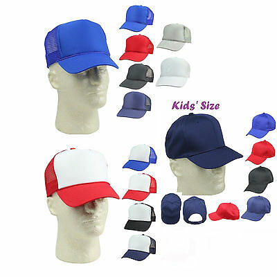 Kid's Trucker Hat Ball Cap Youth Caps Mesh Blank Plain Blue Gray Black White