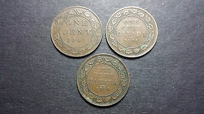 Canada Large Cent Coin Lot - 1908, 1918, 1919