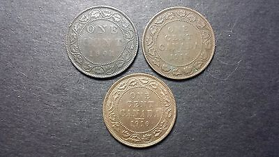 Canada Large Cent Coin Lot - 1901, 1916, 1918
