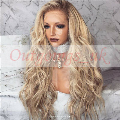 100% Peruvian Real Human Hair Wigs Ombre Balayage Brown Wavy Remy Lace Front Wig